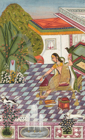 Indian painting of a woman with a cat and a bird. Rajasthan. Fine art print