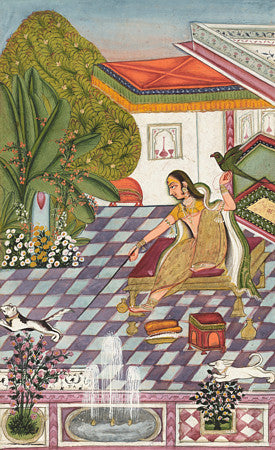 Indian painting of a woman with a cat, a bird and a dog. Rajasthan. Fine art print