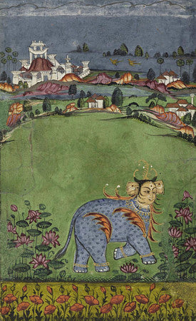 Painting of a mythological creature from an Indian, Deccan astrological manuscript. Fine art print