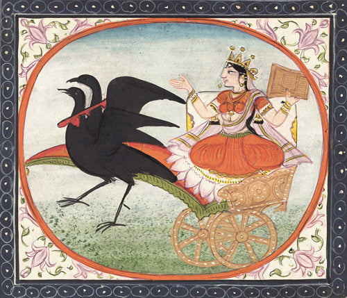 The Hindu Goddess Dhumavati in a chariot of crows. Antique Indian painting. Fine art print