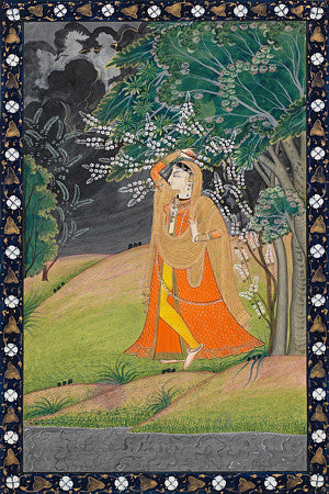 Indian painting of a woman in a forest. Fine art print