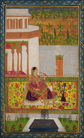 Woman smoking. Indian, Deccan painting. Fine art print