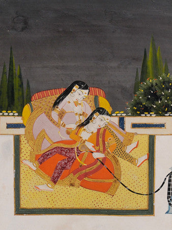 Two Women Smoking a Hookah. Indian painting, Rajasthan. Fine art print