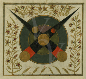 Lunar Eclipse. Ottoman Turkish astrological painting. Fine art print
