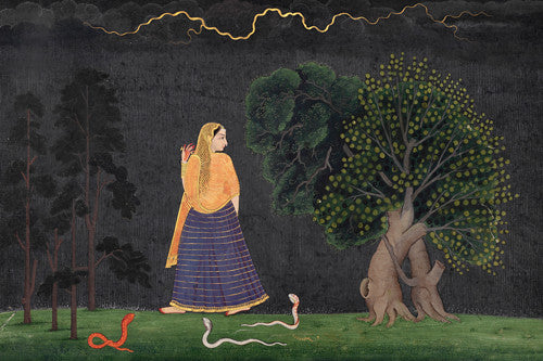 Abhisarika Nayika. Indian, Kangra painting of a woman rushing through a forest in a storm to meet her lover.