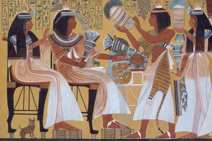Ipuy and Wife. Ancient Egyptian wall painting. Fine art print