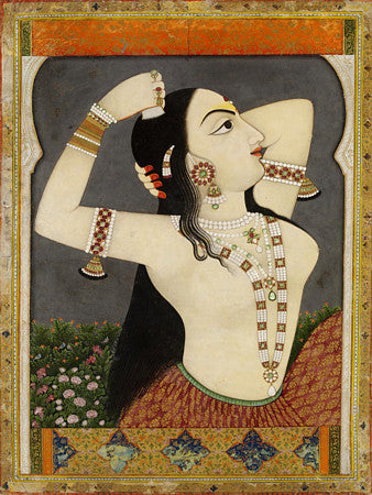 Indian painting of a woman combing her hair. Fine art print