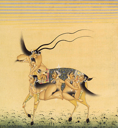 Antique Indian composite painting of an antelope with lovemaking couples. Erotica. Fine art print