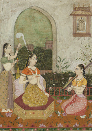 Indian painting of a Princess with two attendants, Rajasthan