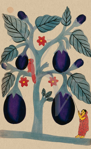 Indian, Kalighat painting of a woman picking aubergines. Fine art print