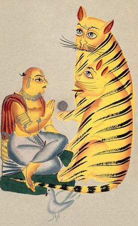 A Holy Man with Tigers. Indian, Kalighat painting. Fine art print