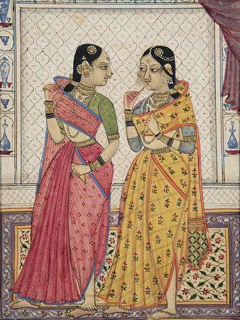Two ladies. Indian Golconda painting Fine art Print