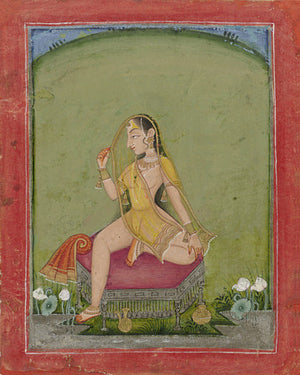 Woman after a bath. Indian painting, Kota, Rajasthan. Fine art print