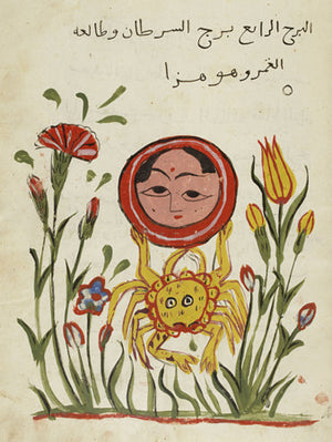 The Moon in Cancer. Persian astrology Painting. Fine art print