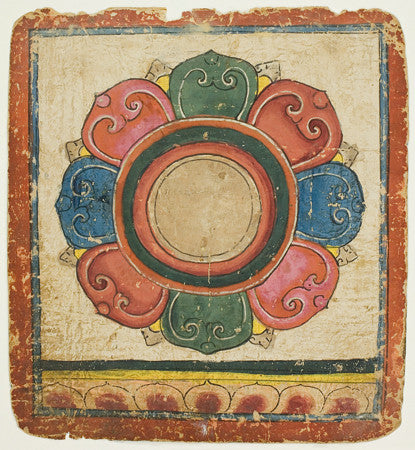 Painting of a lotus from a Tsakali, initiation card, used in Tibetan Buddhist rituals. Fine art print
