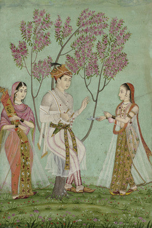 Indian, Deccan painting of a prince and two ladies. Fine art print