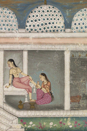 Lady at Her Toilette. Indian, Deccan, painting. Fine art print