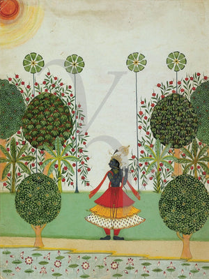 Krishna Fluting in the Forest. Indian painting. Fine art print