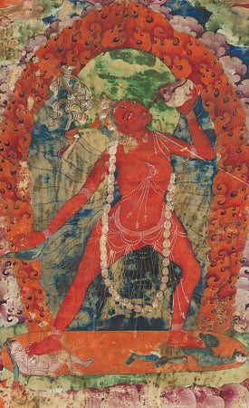 Tibetan painting of a Vajrayogini, tantric female Goddess. Antique Buddhist deity. Fine art print