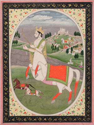 Indian painting of Sagittarius. Half man, half horse. Zodiac. Fine art print