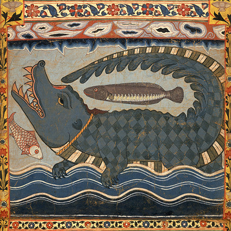 Bengali painting of a mythical crocodile. Fine Art Print