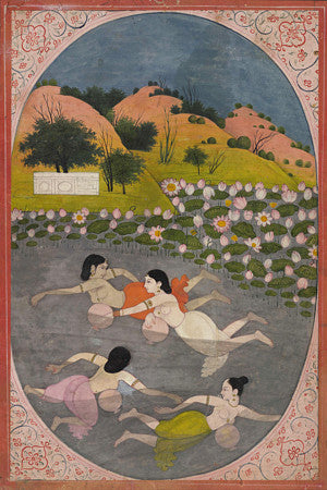 Sindhuri Ragini. Women swimming in a lotus pond. Indian painting. Fine art print