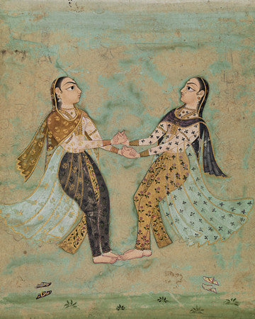 Indian painting of two dancing women. Fine art print