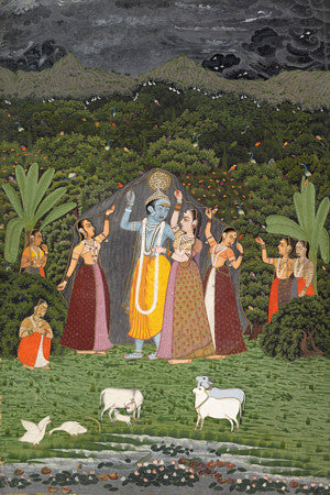 Indian painting of Krishna and the Gopis sheltering from rain in the forest. Hindu fine art print