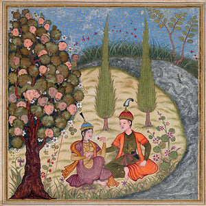 Persian painting. Tahrusiyah and Mihrasb under the Waqwaq Tree . Fine art print