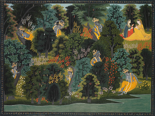 Krishna's Longing for Radha. Indian, Kangra, Pahari painting. Fine art print