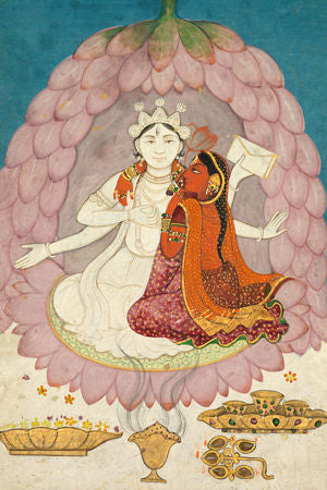Indian, Kangra, painting of Hindu deities Vishnu and Lakshmi sitting on a lotus blossom. Fine art print