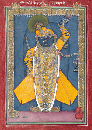 Krishna in the Form of Shri Nathji. Indian painting. Fine art print