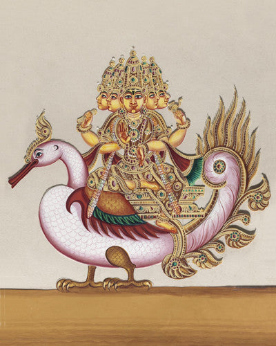 Brahma Deva. Indian painting of the Hindu deity. Fine art print