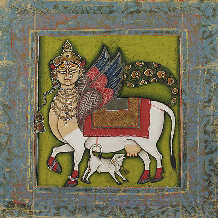 Indian painting of the Hindu goddess Kamadhenu, the sacred wish-fulfilling cow, Fine art print