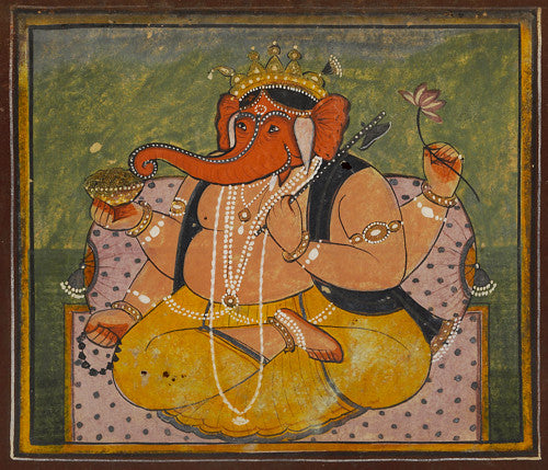 Indian painting of the Hindu Deity Ganesh, or Ganesha. Fine Art Print