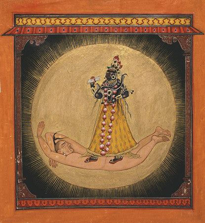 Bhadrakali within the Rising Sun. Hindu Goddess. Indian painting. Fine art print