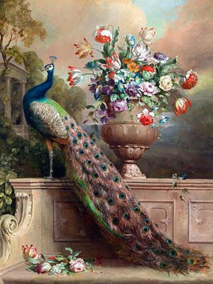 Peacock Terrace. Antique painting. Fine art print