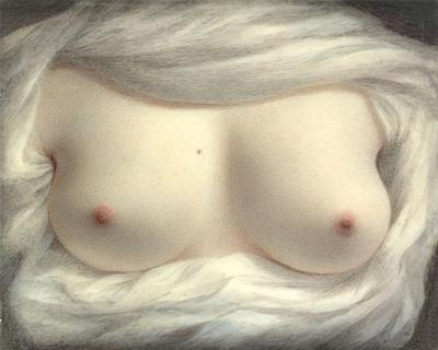 Beauty Revealed. Antique erotic painting of female breasts. Fine art print