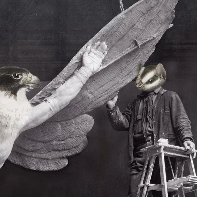 Learning To Fly - Surreal Collage - Venus Art prints