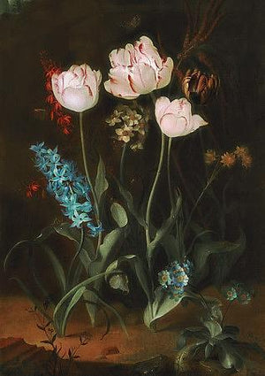 Still Life with Tulips and Hyacinth. Antique Painting. Fine Art Prints