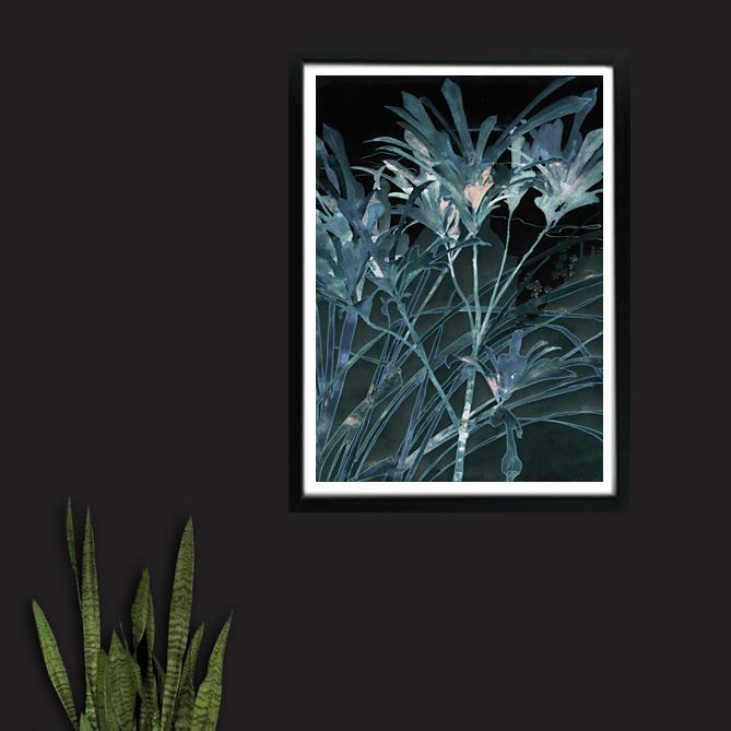 Dark Botanical Tropical Blue leaves by moonlight art print - Venus Strange