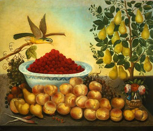 Bird, Fruit and Pear Tree antique painting. American Folk Art. Fine Art print