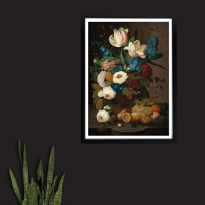 Still Life Painting with Flowers and Fruit - Venus Art Prints