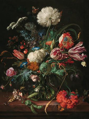 Dark Floral Still Life Painting. Dutch Flowers. Fine art print