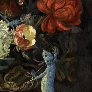 Dutch Flowers Painting with Lizard. Fine Art Print