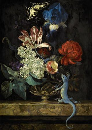 Dark Floral Still Life Painting with Lizard. Fine Art Print