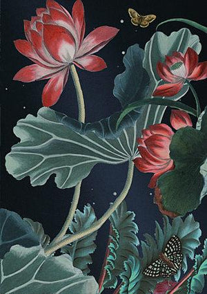Night Blooms. Lotus flowers against a night sky collage. Fine art print
