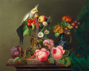 Parrot with flowers and fruit. Victorian still life painting. Fine art print