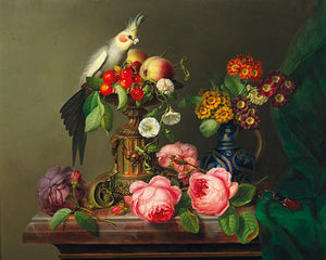 Parrot with flowers and fruit. Still life painting. Fine art print