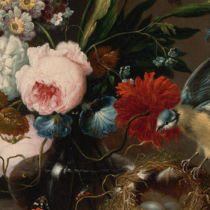 Antique Floral Still Life with Bird and Nest - Venus Art Prints